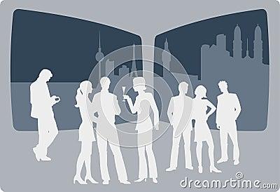 People enyoing nightlife