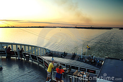 People on evening ferry. Editorial Photography