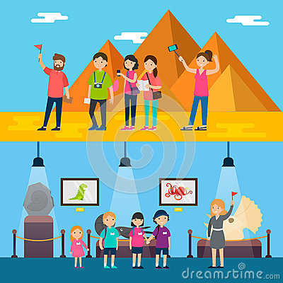 People On Excursion Horizontal Banners Vector Illustration