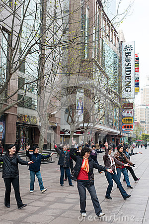 People exercising on nanjing road shanghai china Editorial Photo