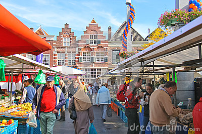 People at the fair in the festive city. Dordrecht, Netherlands Editorial Stock Photo