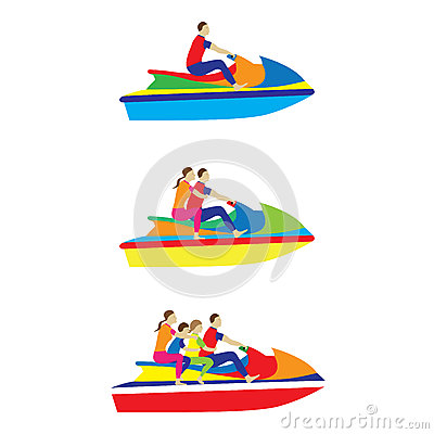 Free People, Family On A Jet Ski. Water Sports. Royalty Free Stock Photos - 59798218
