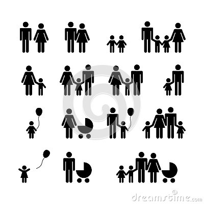 People Family Pictogram. Set