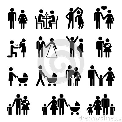 People family vector icon set. Love and life Vector Illustration