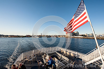 People on the ferry in Boston Editorial Stock Photo