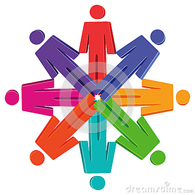People figures in circle