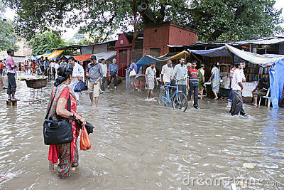 People at flooded market Editorial Stock Photo