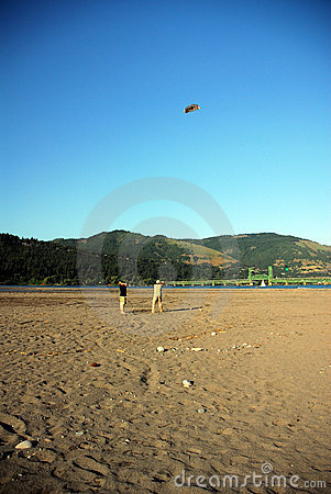 People flying kites