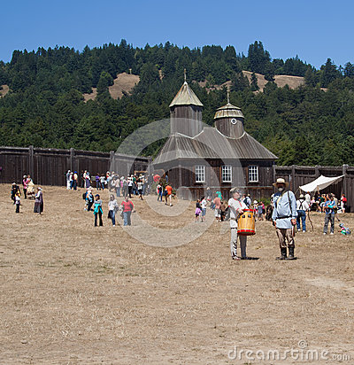 People in Fort Ross at Fort Ross 200 annivercary Editorial Stock Image