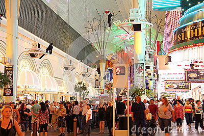 People at Fremont Street Experience Editorial Photography