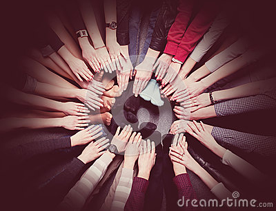 People get combined hands together