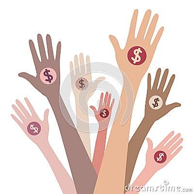 People giving money