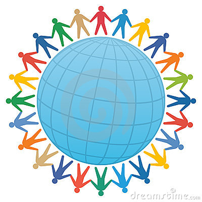 people & globe / color vector
