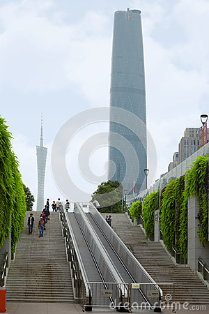 People go downstairs not far from International Finance Center Editorial Stock Photo