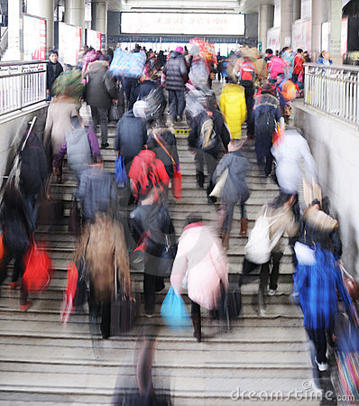 People go home during Chinese New Year Editorial Stock Photo