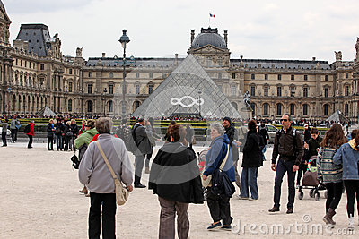 People go to famous Louvre museum on April 27, Editorial Photo