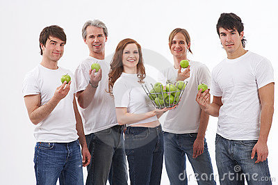People with green apples