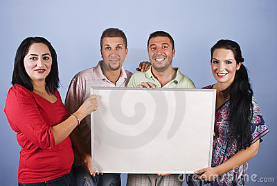 People group holding a billboard