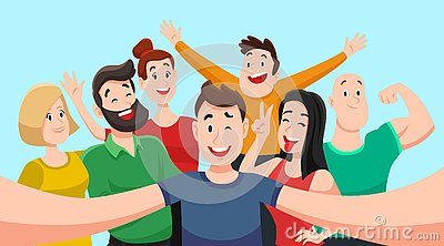 People group selfie. Friendly guy makes group photo with smiling friends on smartphone camera in hands vector cartoon Vector Illustration