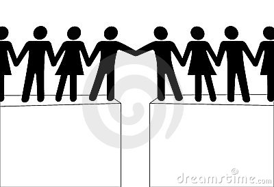 People groups reach to join connect together