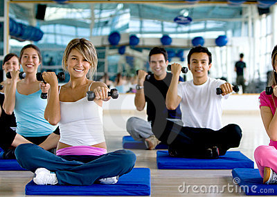 People at a gym class