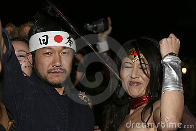 People on Halloween parade Editorial Stock Image
