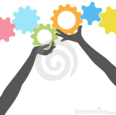 People hands hold up technology gears