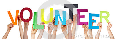 People Hands Holding Colorful Word Volunteer Stock Photo