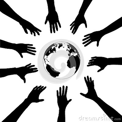 People hands reach for earth