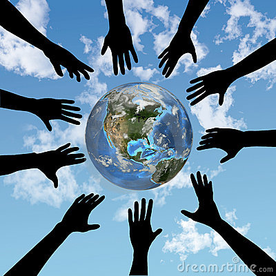 Free People Hands Reach For Earth Stock Image - 3275031
