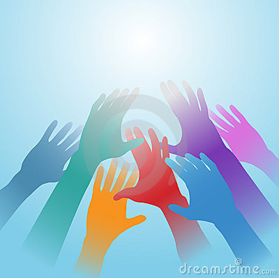 People hands reach out bright light copy space