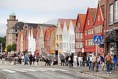 People at Hanseatic Bryggen Editorial Image