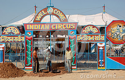 People are having fun at indian circus, Pushkar,India Editorial Image