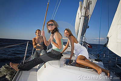 People having fun on a yacht