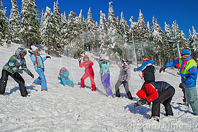 People having snowball fight