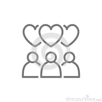 People with heart bubbles, love chat line icon. Vector Illustration