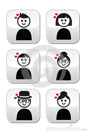 People with hearts, love, Valentine s Day buttons set