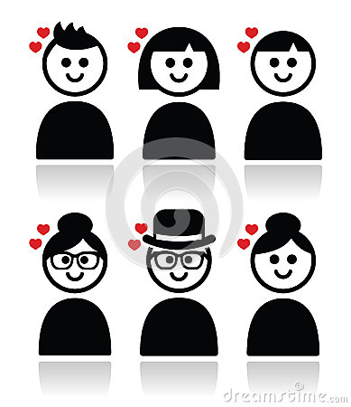 People with hearts, love, valentine s day icons set