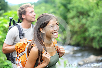 People hiking - happy hiker couple on Hawaii