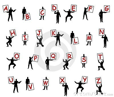 People Holding Letters of Alphabet