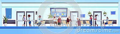 People In Hospital Hall Patients And Doctors Team IN Clinic Waiting Room Horizontal Banner Vector Illustration