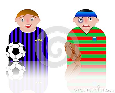 People icons football and rugby