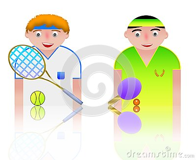 People icons tennis and ping pong