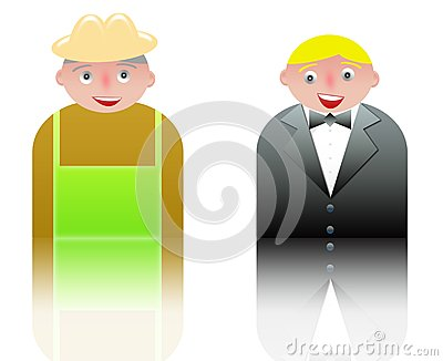 People icons waiter and farmer