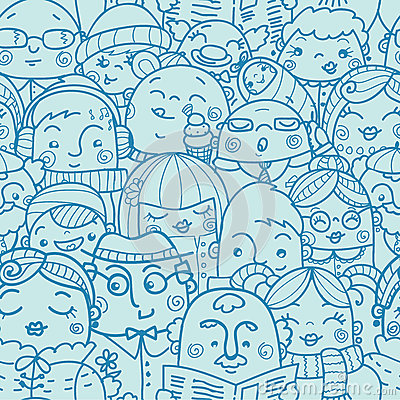 Free People In A Crowd Seamless Pattern Background Royalty Free Stock Images - 31813129