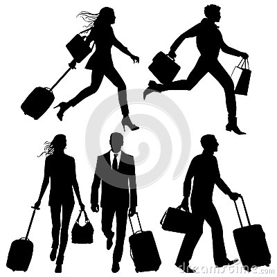 Free People In A Hurry - Vector Silhouettes Royalty Free Stock Photo - 31146155