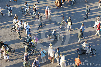 People on Djemaa el Fna in Marrakesh, Morocco Editorial Photography