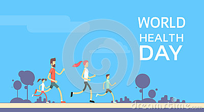 People Jogging Sport Family Fitness Run Training World Health Day Vector Illustration