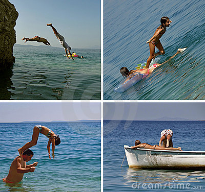 People jumping in sea (collage)
