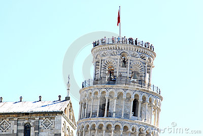 People upon the leaning tower in Pisa, Italy Editorial Photo